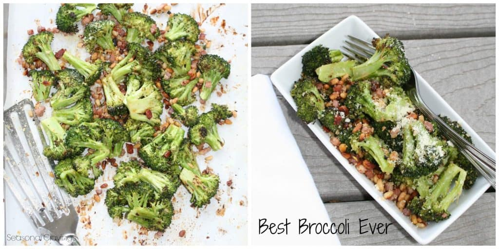 best roasted broccoli in a white bowl