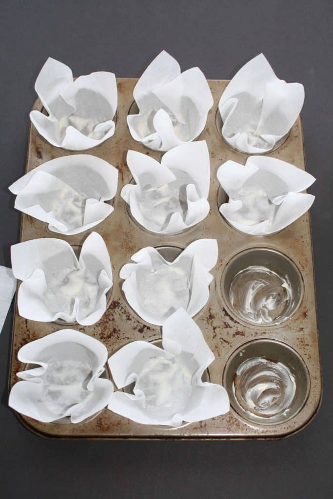 parchment wrappers in muffin tin