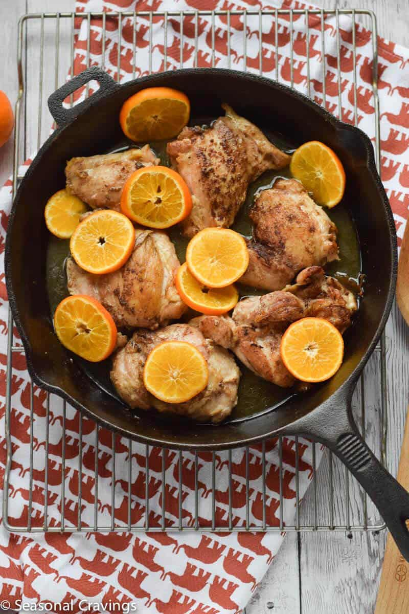 Roasted Clementine Five Spice Chicken in a skillet
