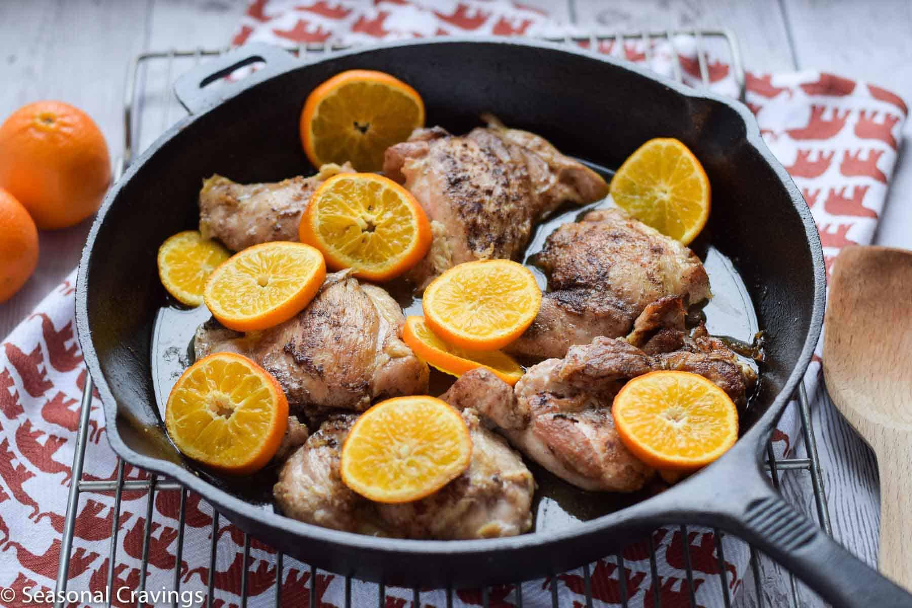 skillet chicken thighs with oranges