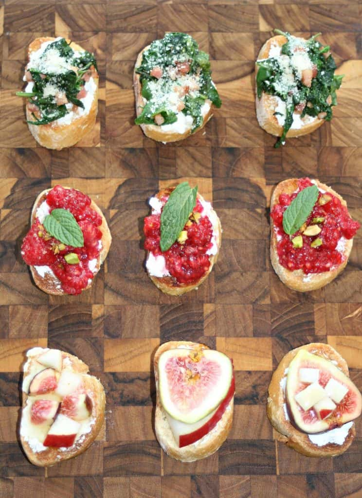 Christmas Crostini appetizers on a cutting board