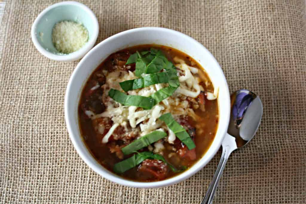 healthy lasagna soup in a white bowl