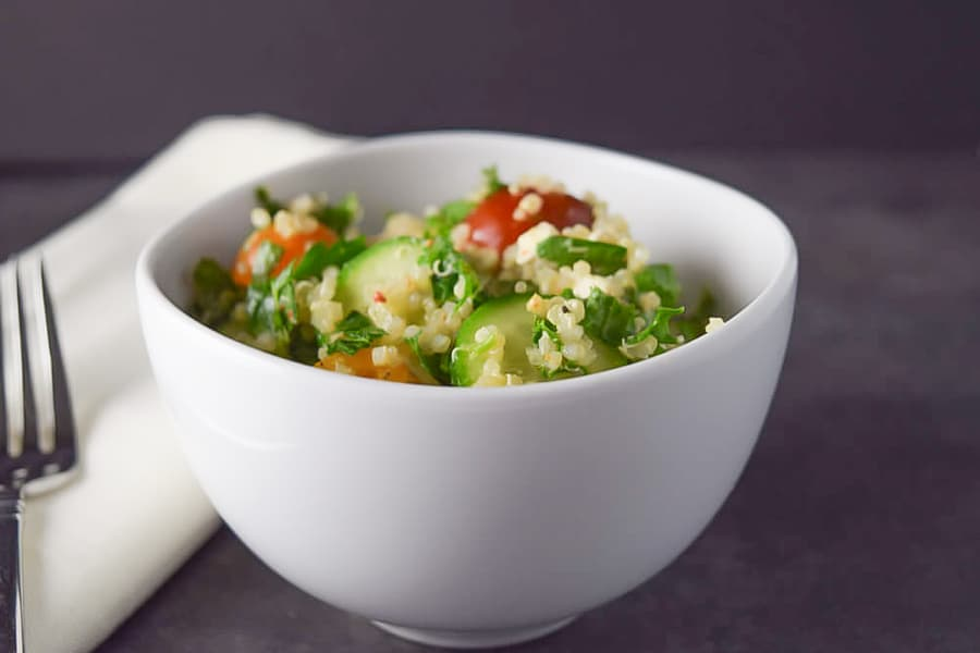 Quinoa Tabbouleh with a fork