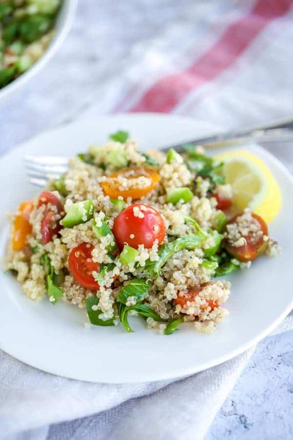 tabbouleh salad with a fork