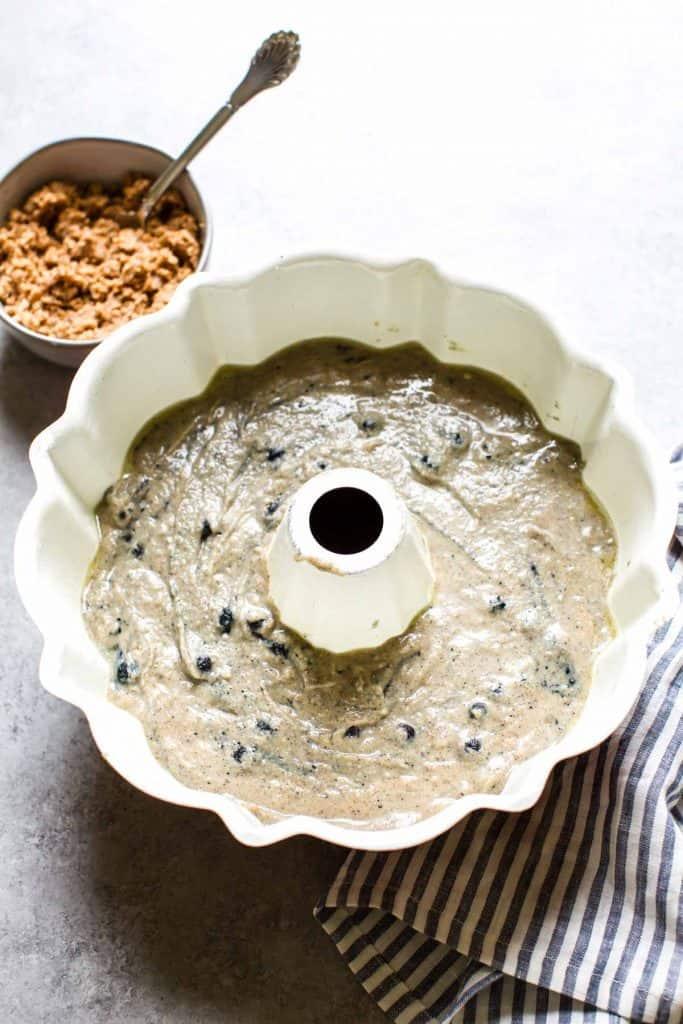 gluten free cake batter in a bundt pan