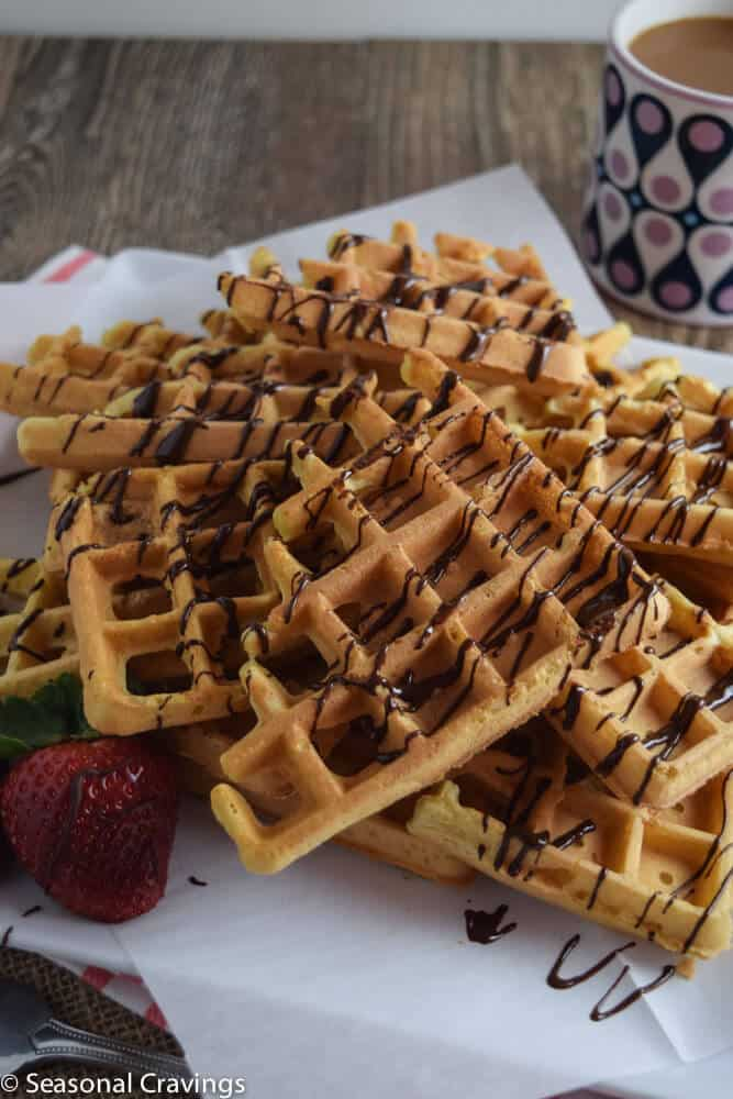 Easy Gluten Free Waffles with chocolate drizzle