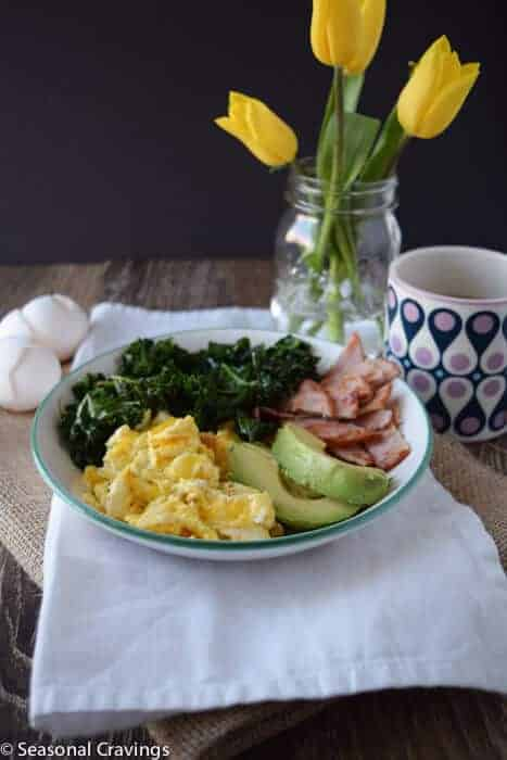 Kale and Egg Power Bowl with tulips
