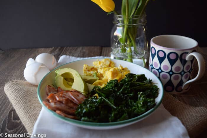 Kale and Egg Power Bowl with coffee