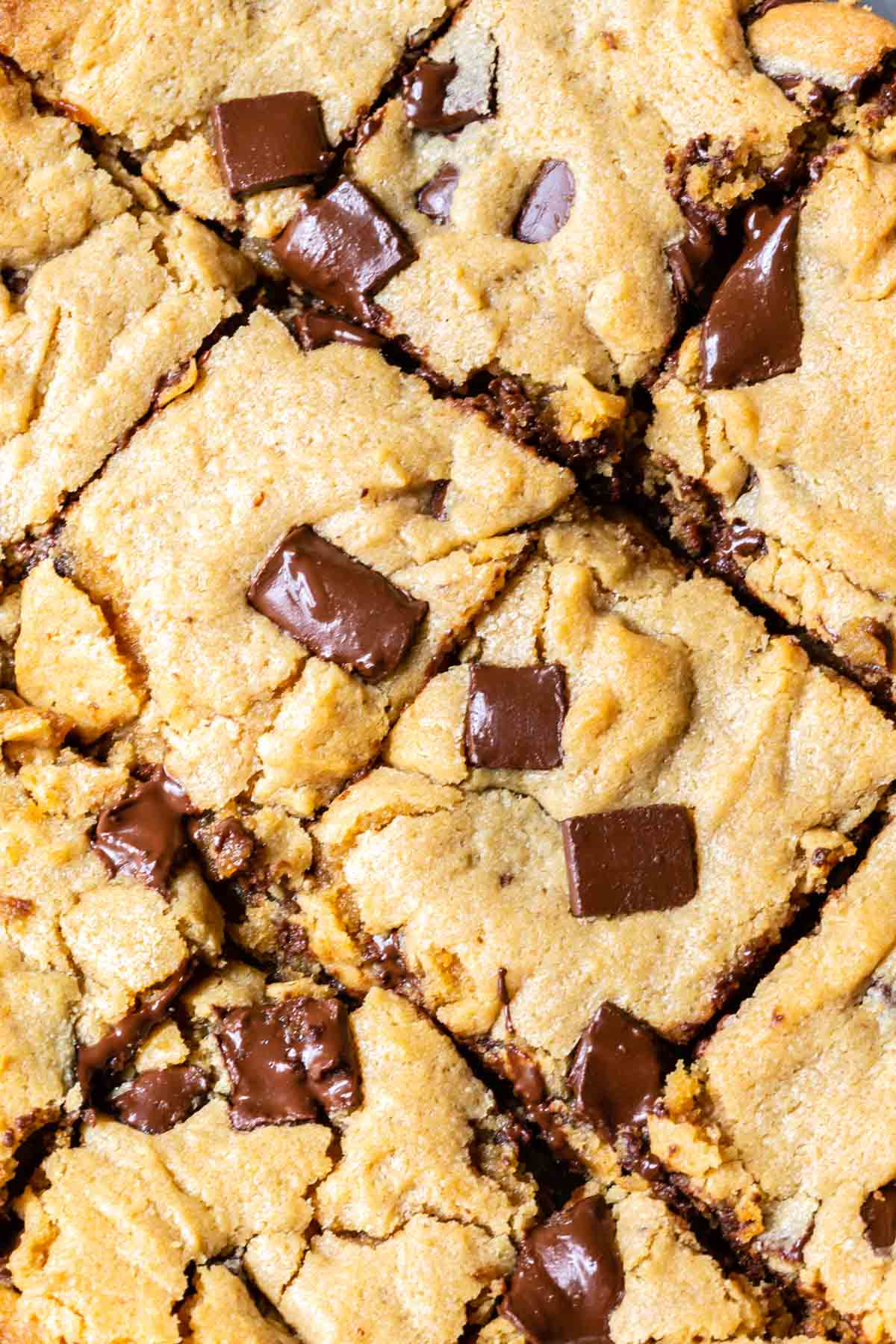 close up of peanut butter chocolate chip cookie bars