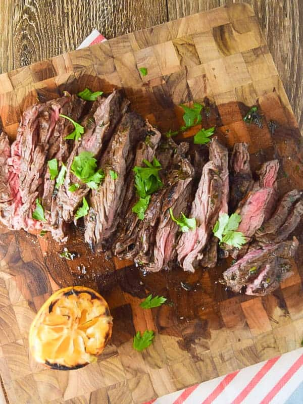 Skirt steak on cutting board