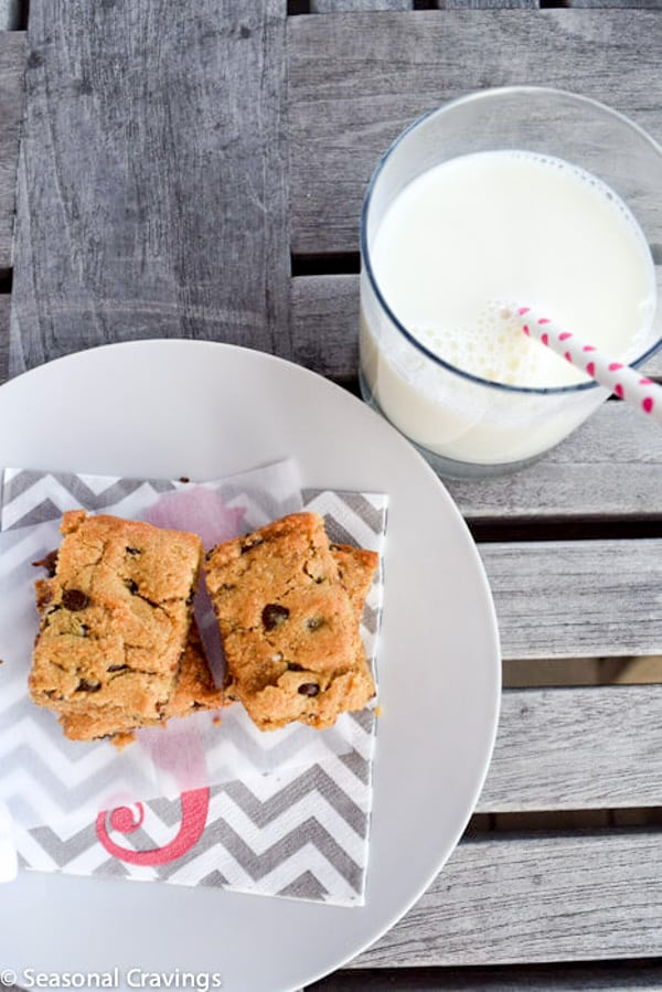 Peanut Butter Quinoa Blondies on a plate with a glass of milk