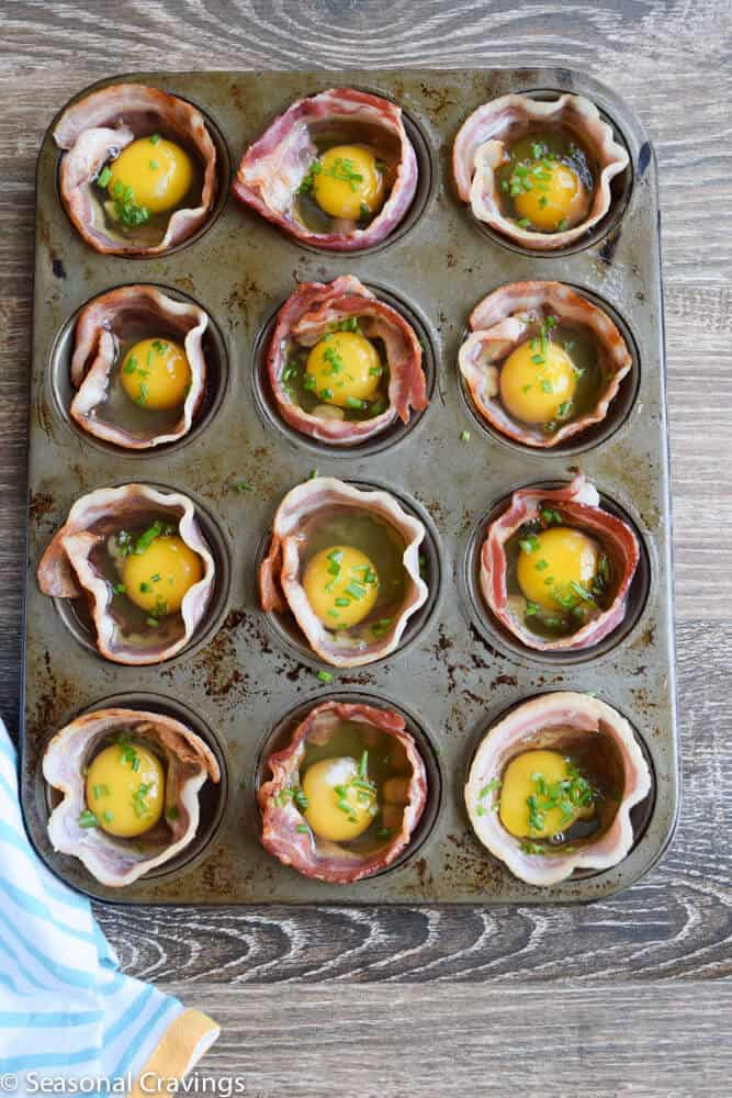 Bacon and Egg Cups raw in a muffin pan