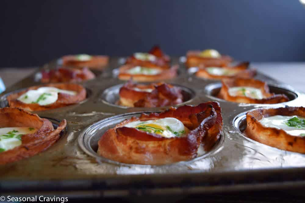 Bacon and Egg Cups close up