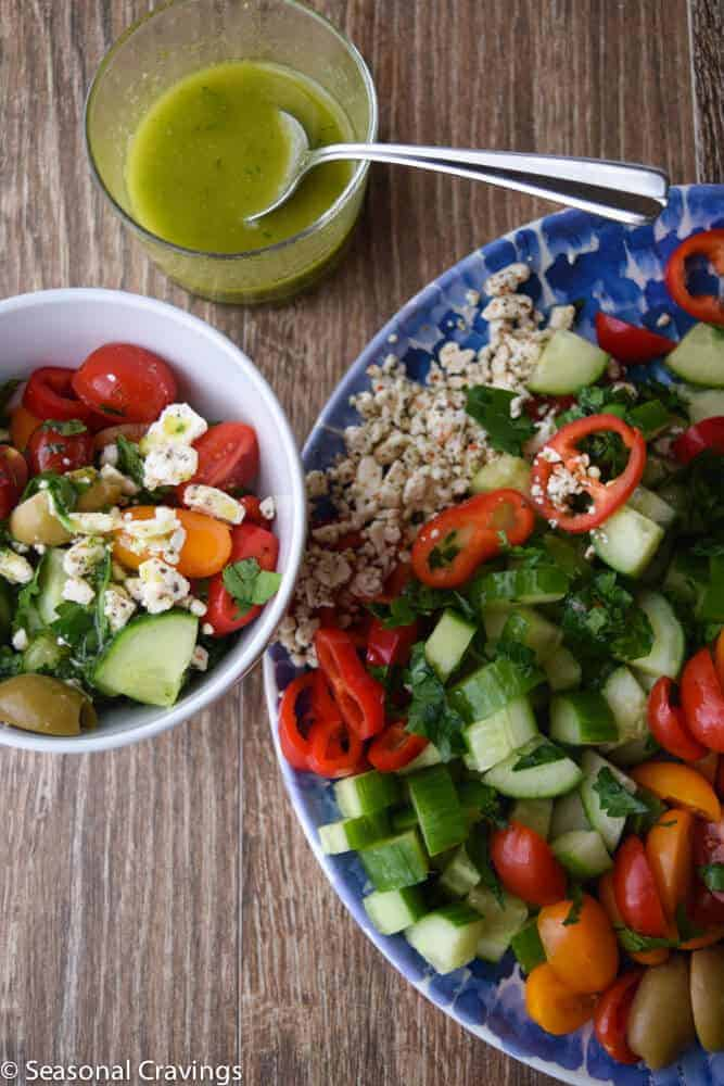 Chopped Greek Salad with dressing on the side
