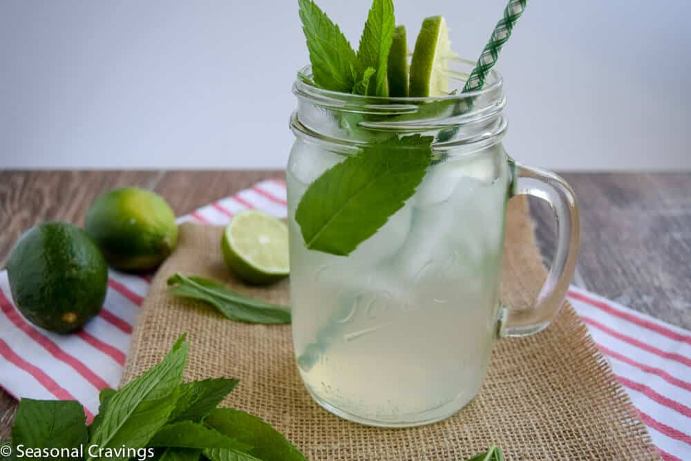 Mint Limeade Mojito with limes on the side
