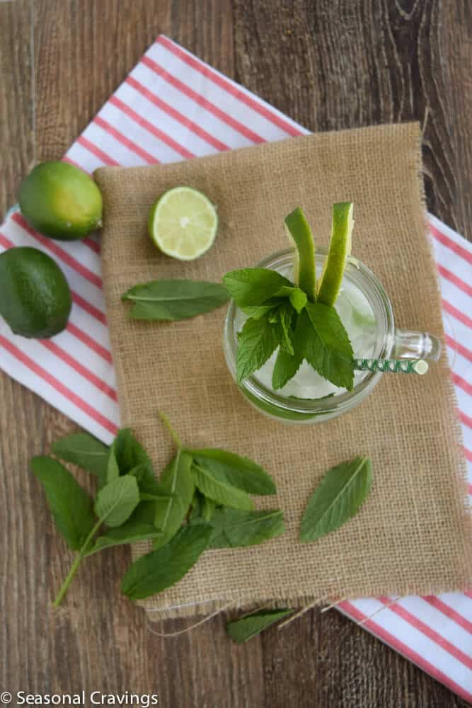 Mint Limeade Mojito from the top with limes
