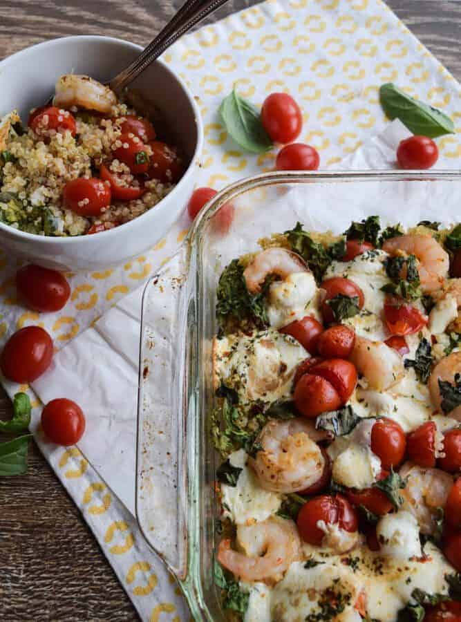 Shrimp, Quinoa and Kale Bake