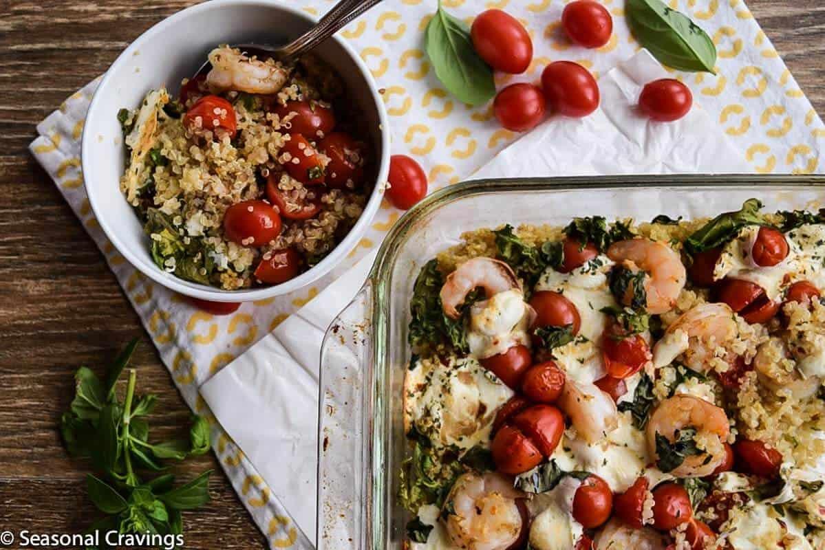 Shrimp, Kale and Quinoa Bake in a casserole dish