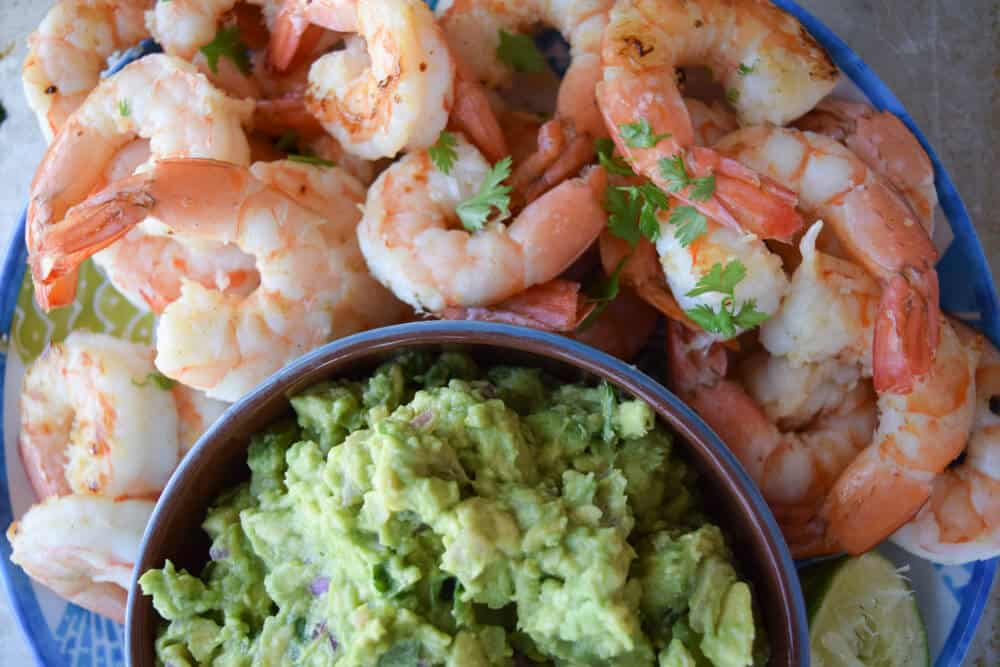 Smoky Shrimp With Guacamole close up