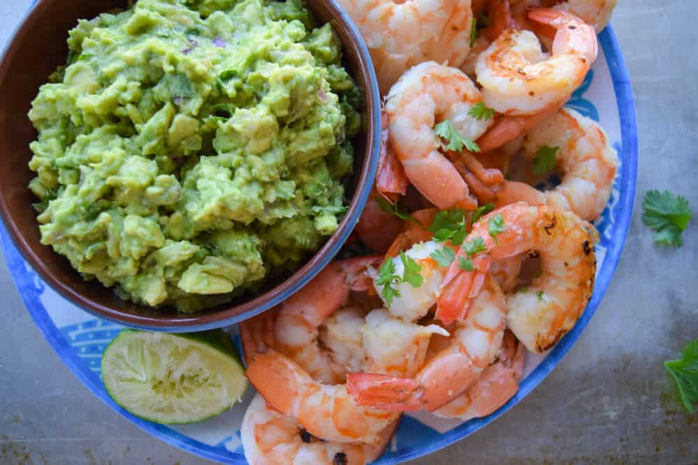 Smoky Shrimp With Guacamole with lime