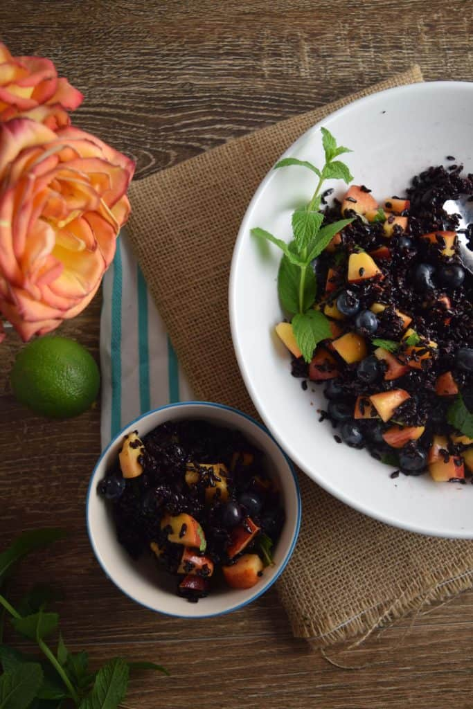 Black Rice With Peaches and Blueberries
