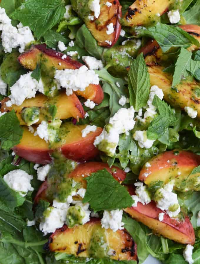 Grilled Peach Salad With Mint Dressing