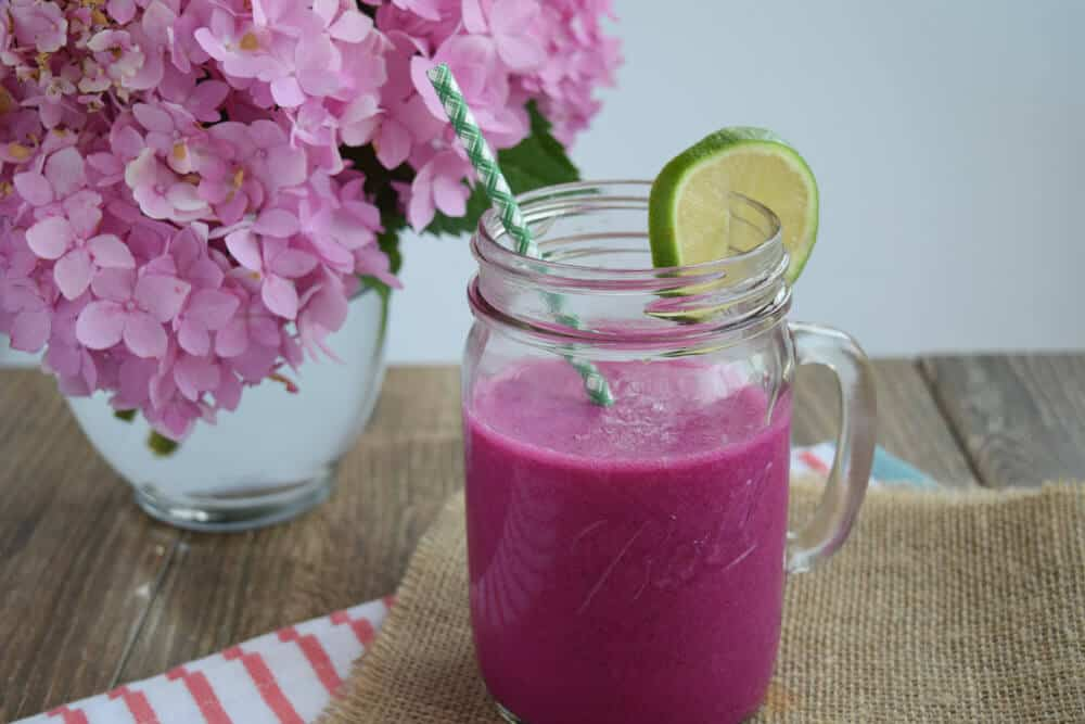 Dragonfruit Smoothie with a flower