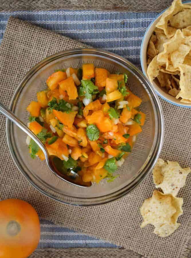 Sunny Pico De Gallo With Yellow Tomatoes