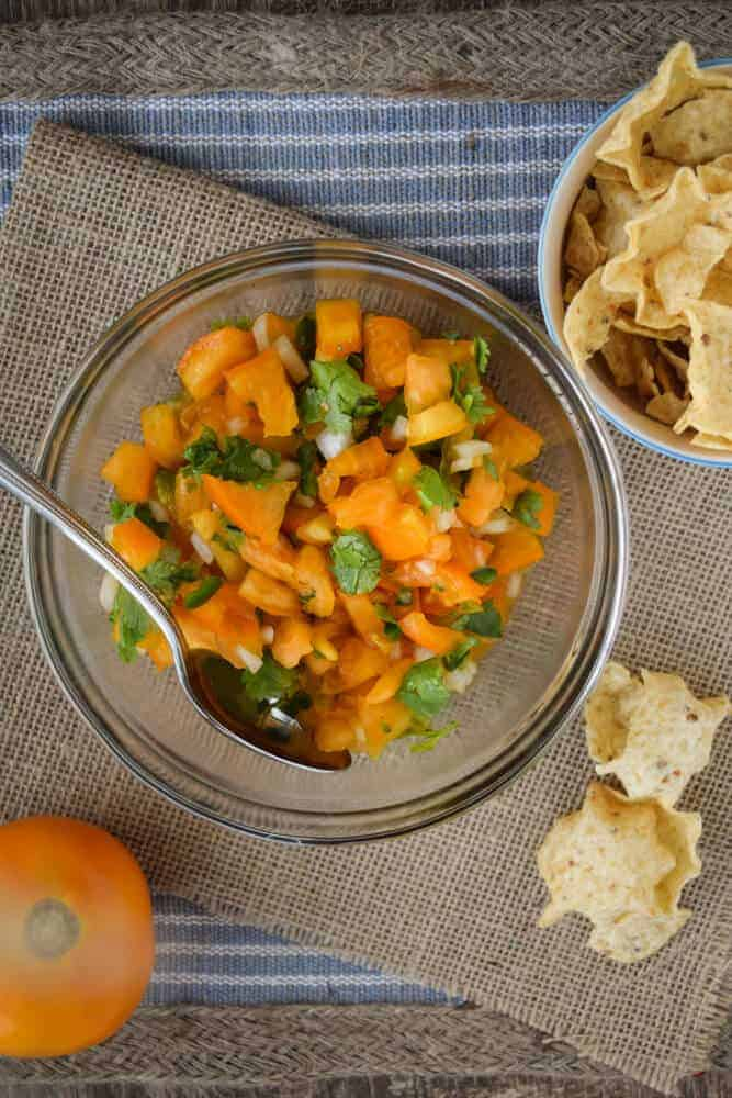 sweet Sunny Pico De Gallo With Yellow Tomatoes