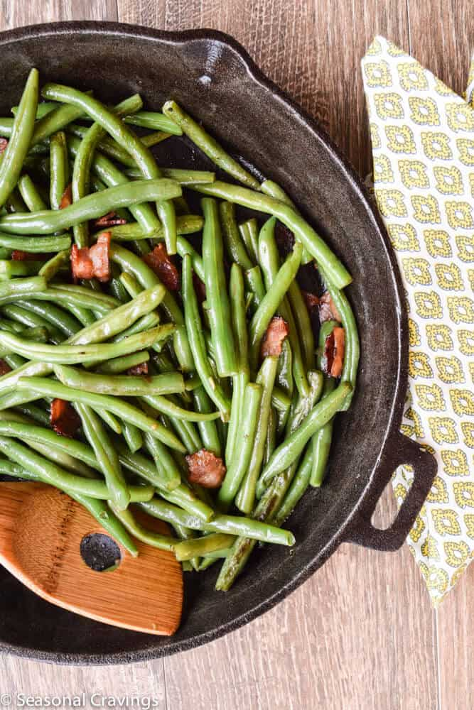 Green Beans With Bacon in a cast iron skillet