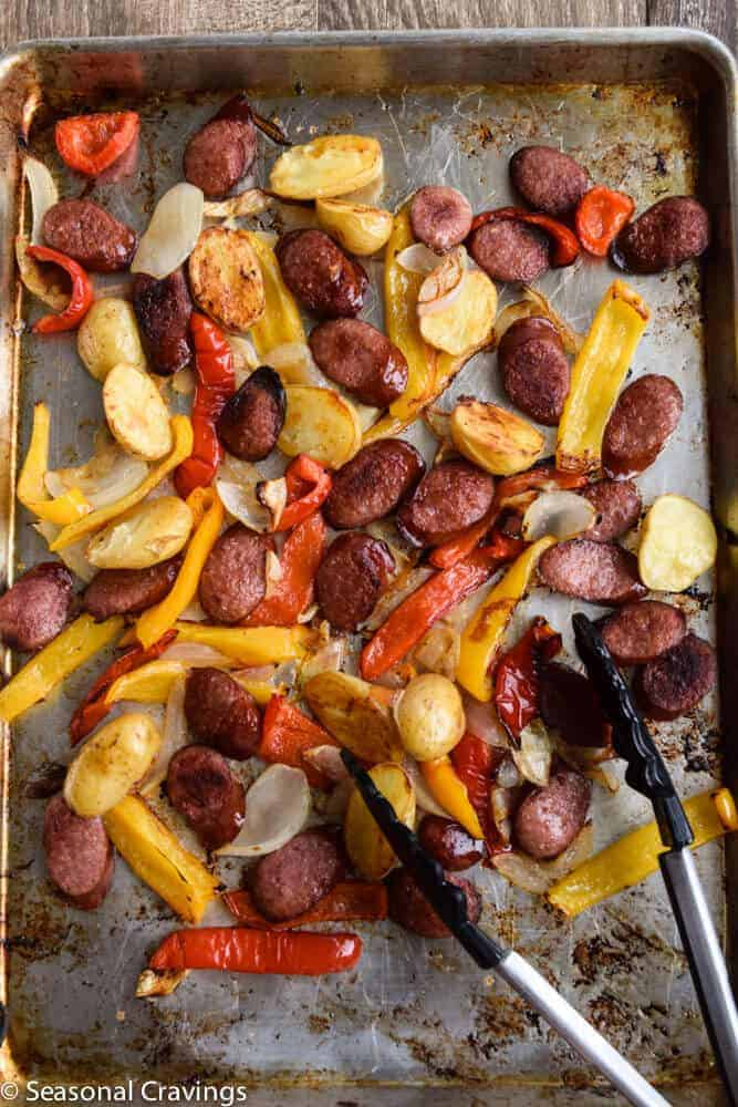 Sheet Pan Sausage and Peppers on a sheet pan