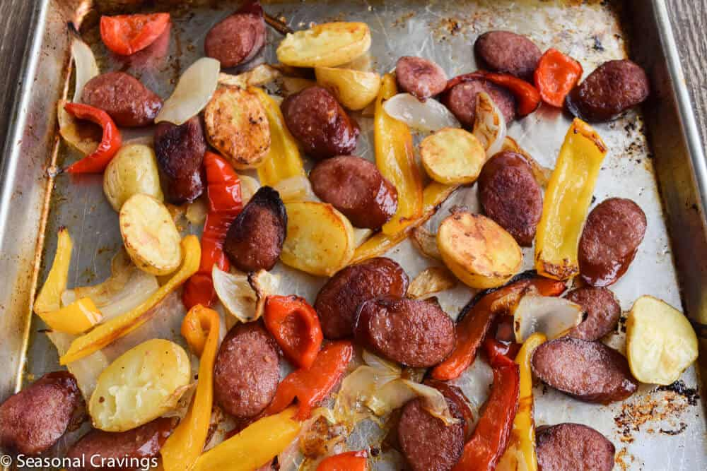 Sheet Pan Sausage and Peppers with onions