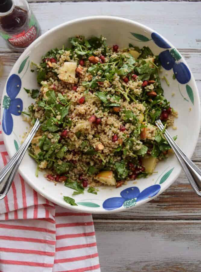 Quinoa Salad with Watercress, Pomegranates and Apples