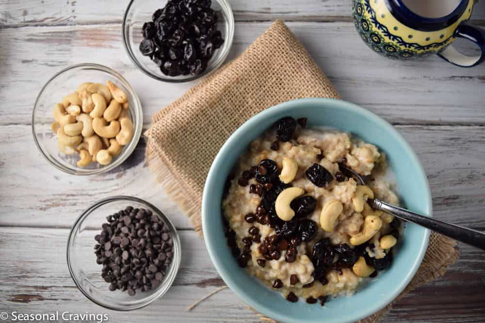 Crock Pot Steel Cut Oats with Chocolate, Cherries and Cashews