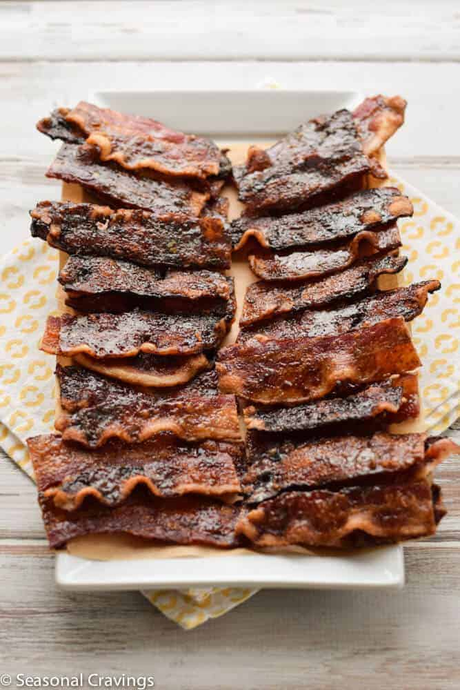 brown sugar bacon on a white plate