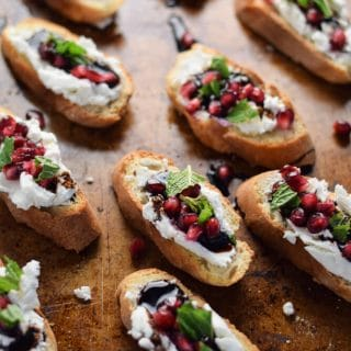 Pomegranate Crostini with Goat Cheese