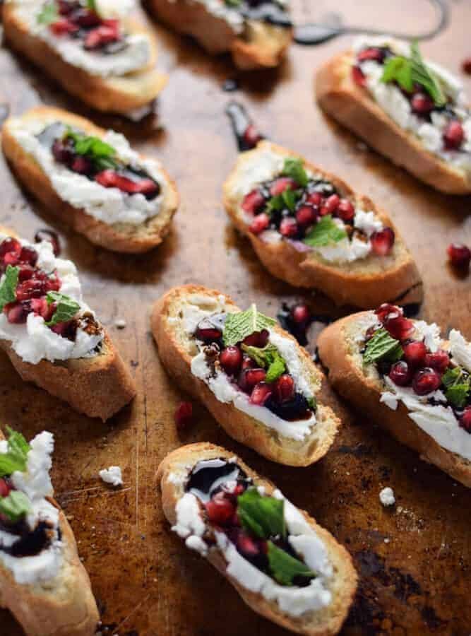 Pomegranate and Goat Cheese Crostini