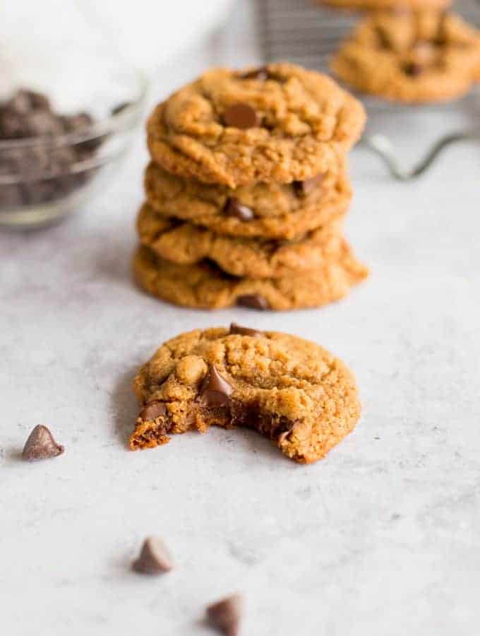 Five Ingredient Peanut Butter Chocolate Chip Cookies