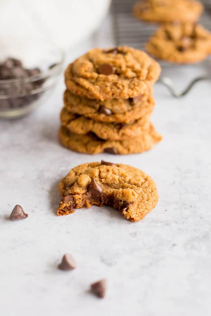 Stack of gluten free peanut butter chocolate chip cookies