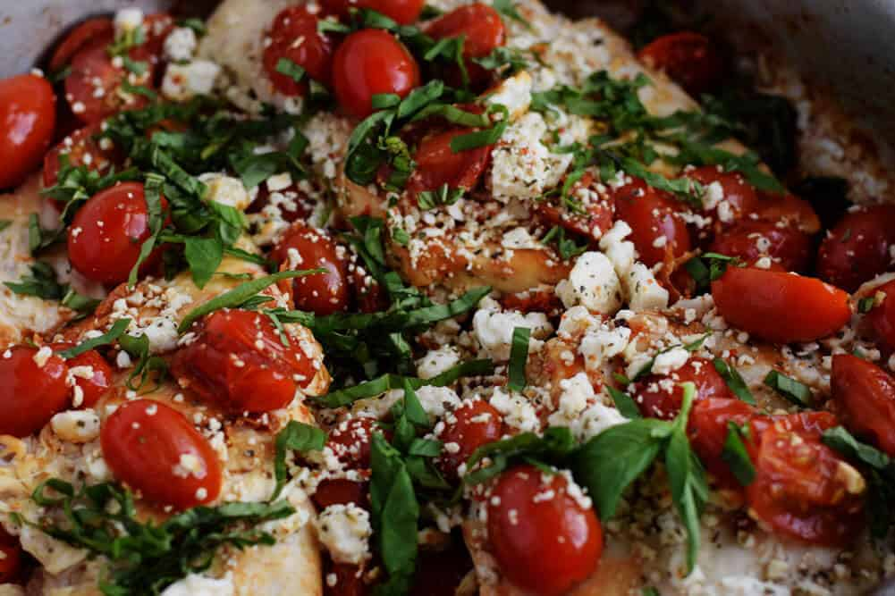 Easy Balsamic Chicken recipe with Tomatoes close up