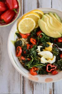 Quinoa With Kale, Peppers, and Poached Egg