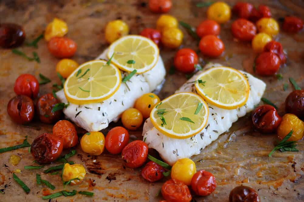 Roasted Cod with Tomatoes