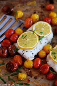 Skinny Roasted Cod with Tomatoes