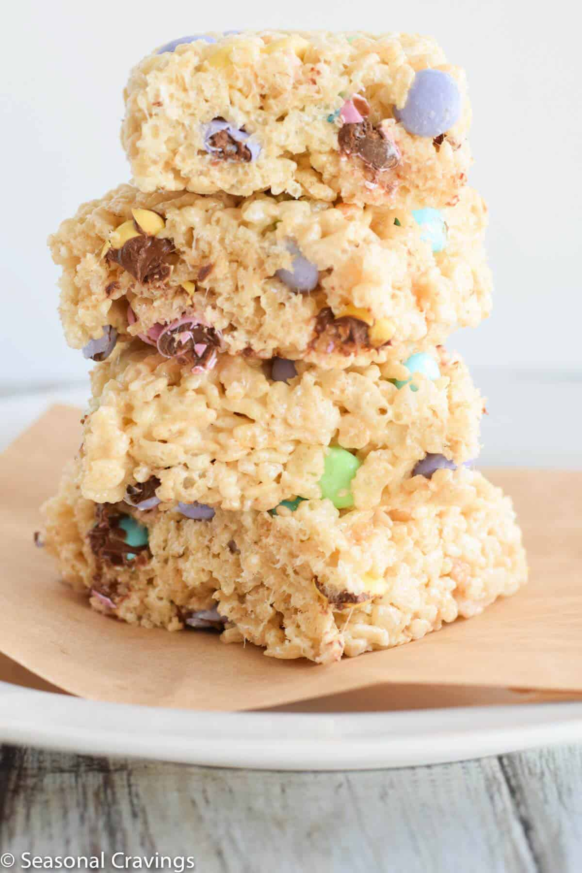 Perfect Rice Krispie Treats stacked up tall
