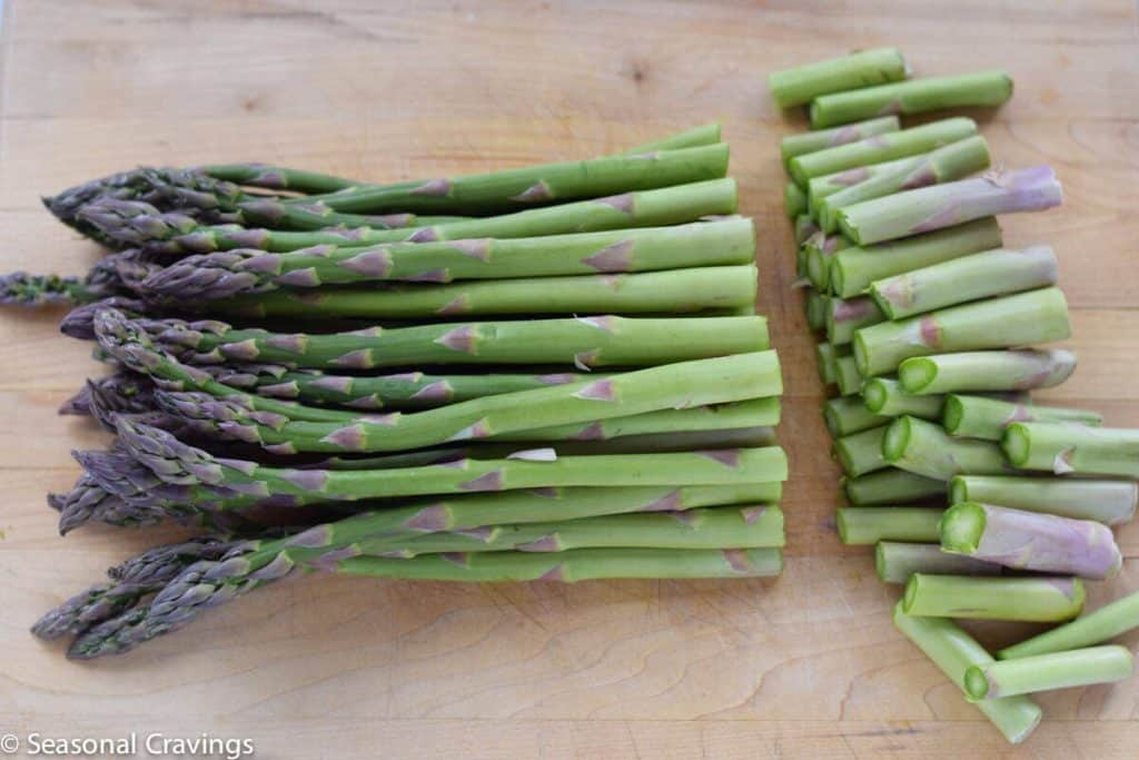 Asparagus with Bacon on cutting board