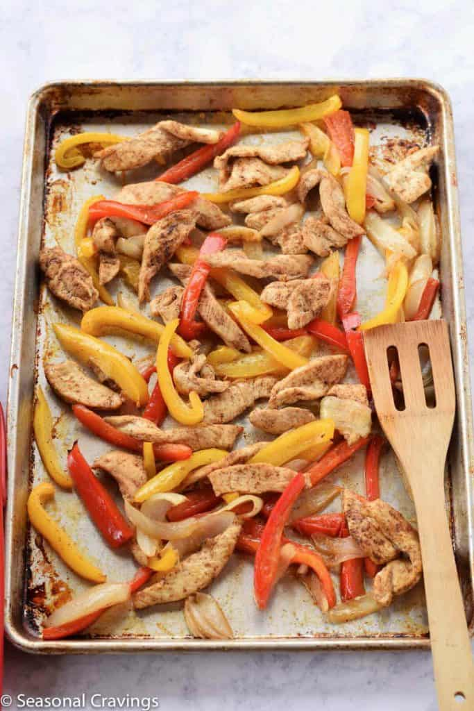 Sheet Pan Chicken Fajitas - chicken, peppers and onions with fajita spice made in a sheet pan {gluten free}