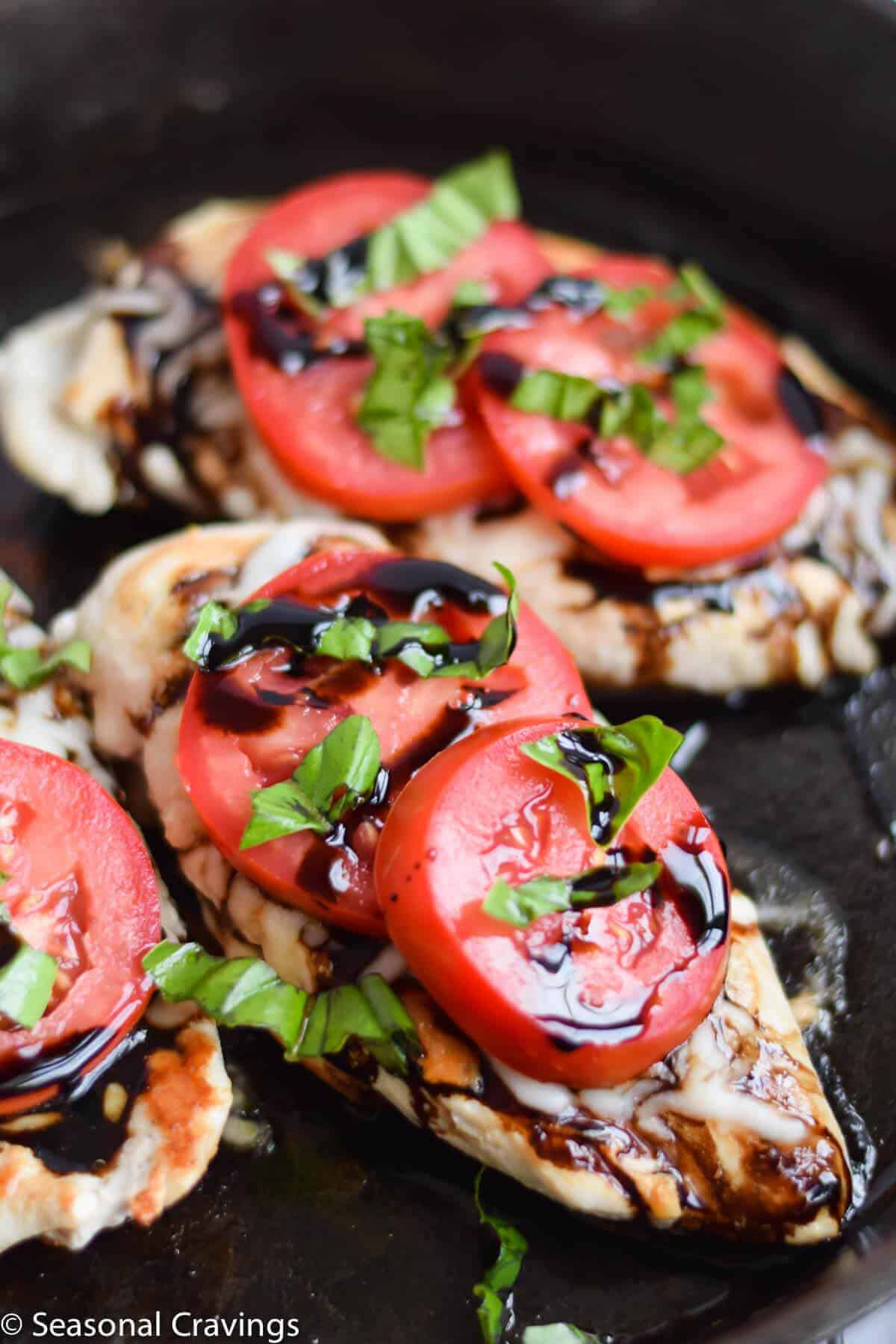 Easy Caprese Chicken with basil garnish
