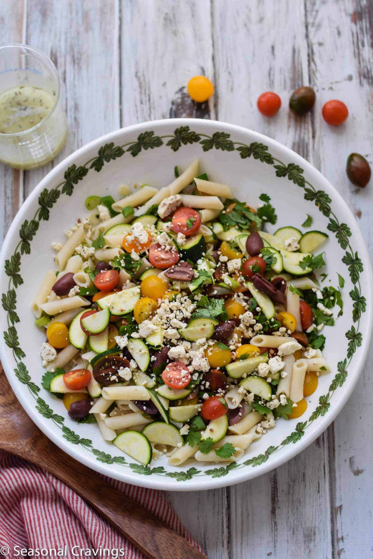 This Greek Pasta Salad will easily become your favorite summer salad. It's full of summer's seasonal bounty, healthy and gluten-free.