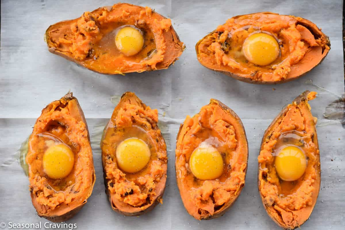 Baked Sweet Potatoes with Egg before they are cooked