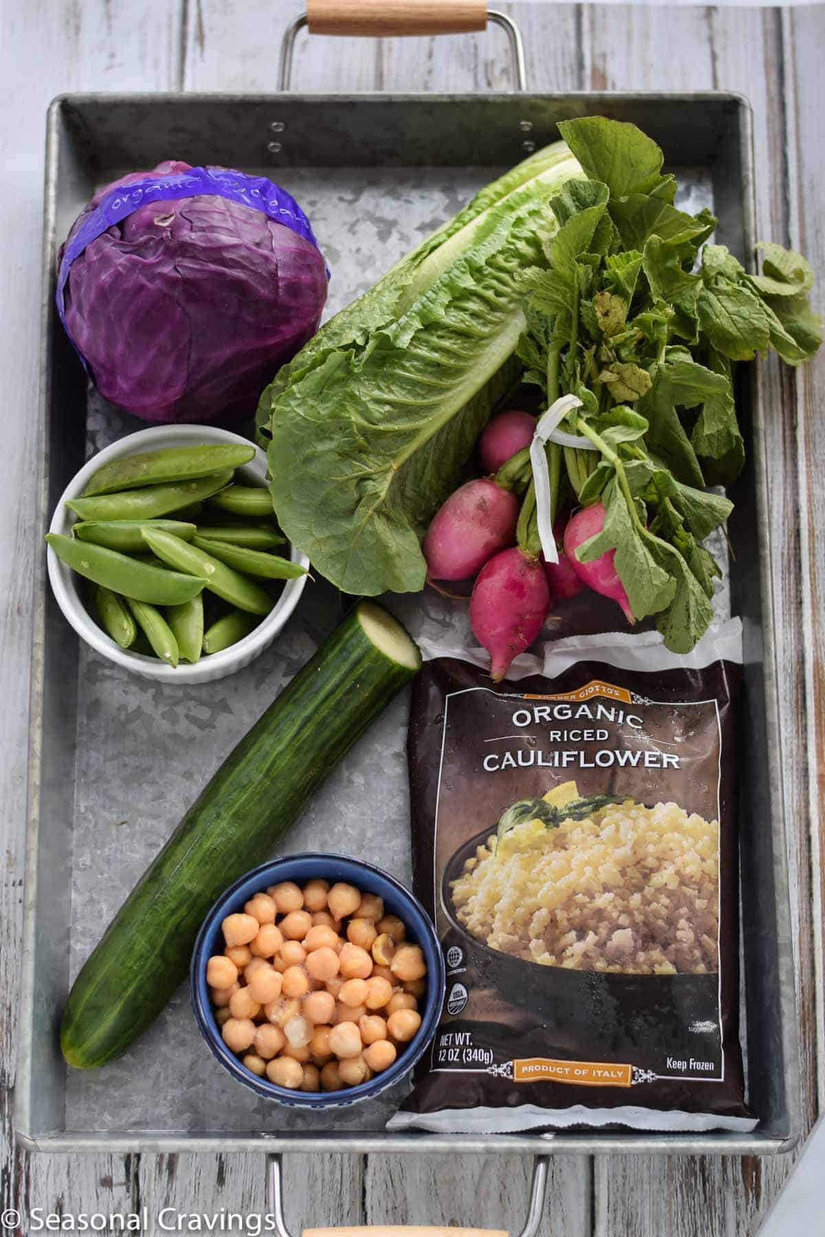 Green Cauliflower Rice Salad ingredients in a silver tray